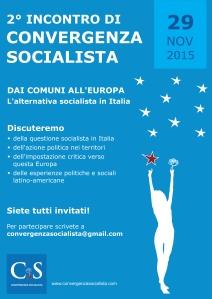 Convergenza Socialista socialismo sinistra partito socialista CS Nuovo Stato Sociale locandina incontro Roma