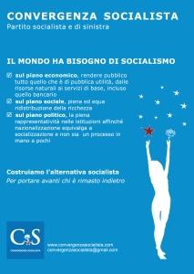 Convergenza Socialista socialismo sinistra partito socialista CS Nuovo Stato Sociale Società Volantino generico