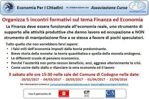Incontri su economia e finanza con il patrocinio di CS Codogno e Somaglia
