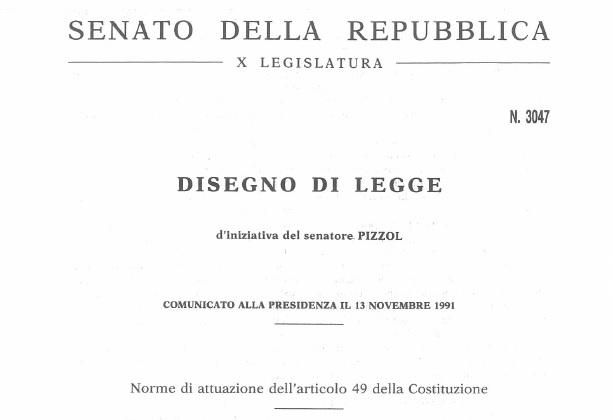 Disegno di Legge 3047 Articolo 49 Costituzione Italiana
