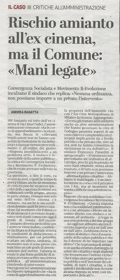 Problema amianto a Codogno (LO) socialismo convergenza sinistra